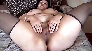 Busty Mature plumper Anastasia stuff in her hairy pussy