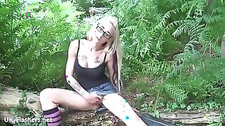 Amateur Blonde Babe Red Haired Toyed And Gives Blowjob Outdoors