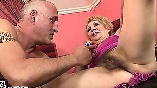 Incredibly hot granny with long underwear showed little hairy