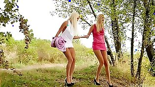 Amatuer lesbian young blonde outdoor