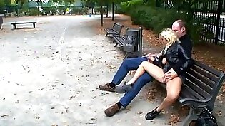 Black Leather Boots topless in Public