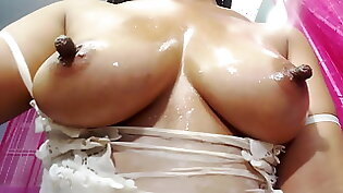 Ava sucks cock and touches nipples