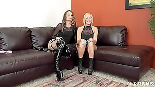 Antonia and Maggie make a hot lesbian sex scene on the leather chair