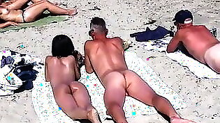 pair of teens are naked on the beach so he can fuck them
