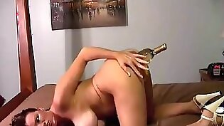 Bottle insertions in pussy and tit