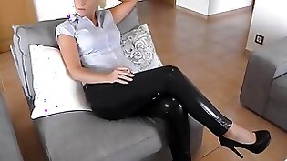 Blonde is doing it on leather legs