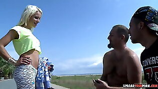 Blonde momma jayna beach and forest hot