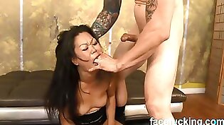 Asian throat of her purple haired MILF opened wide to suck and ride strong hung dick