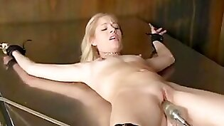 BDSM fuck machine for yoga stretching brunette pretty chick with huge knockers