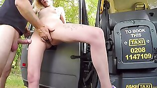 Blonde pounded by taxi driver on the hood side