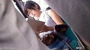 Bus submissive girl playing with vibrator