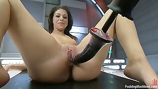 Horny leggy brunette nailed in riding machine