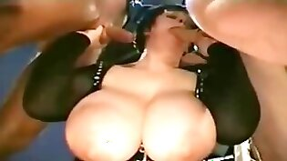 BBW milf with huge tits fucked in group sex