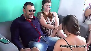 Brunette angel gets her ass plugged in public