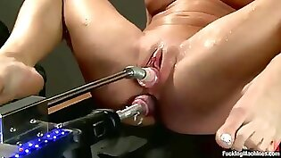 Blonde slut double penetrated after with tons of hard dicks