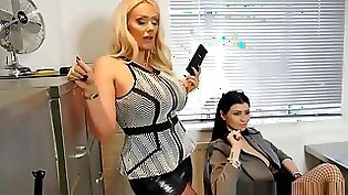 Very hot chick gives boss a footjob in the office