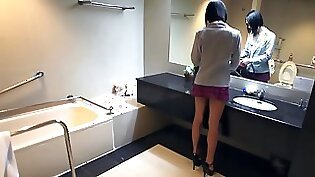 Bosomy ladyboy Charly Lacourt rubs each others titties madly while jerking